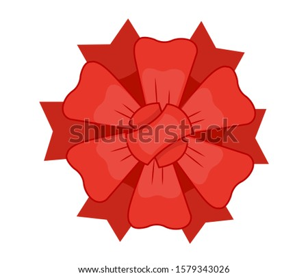 Decorative red bow with ribbon. Vector bow for page decor isolated. Girl bows on hair or gifts decorating. Isolated vector on white background