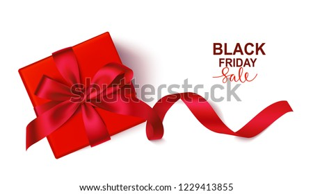 Decorative red gift box with red bow and long ribbon isolated on white background. Top view. Vector illustration