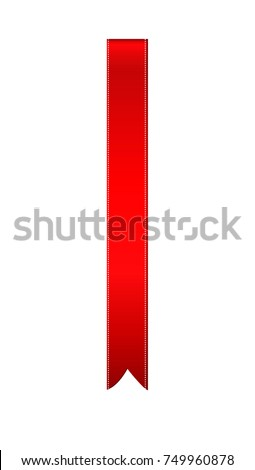 Decorative red ribbons banner with copy space isolated on white. Vector. For a holiday or a party. Bookmark for the book