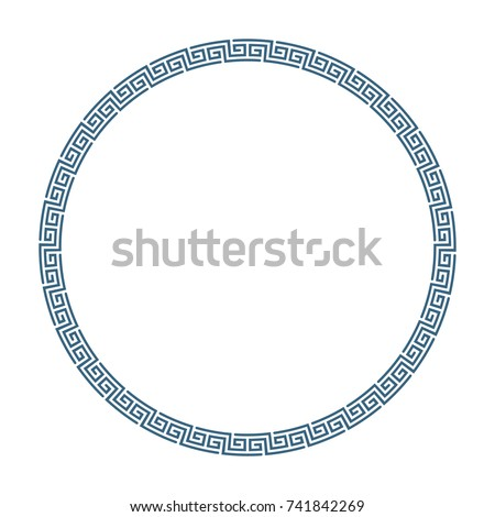 Decorative round frame in Greek style for photo or text. Abstract geometric ornament in the form of a circle, isolated on white background. Vintage framework. Vector illustration. EPS 10.