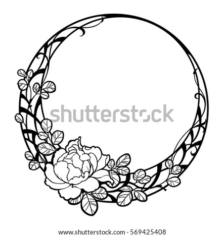 Decorative round frame with peony rose flower. Black line art on ...