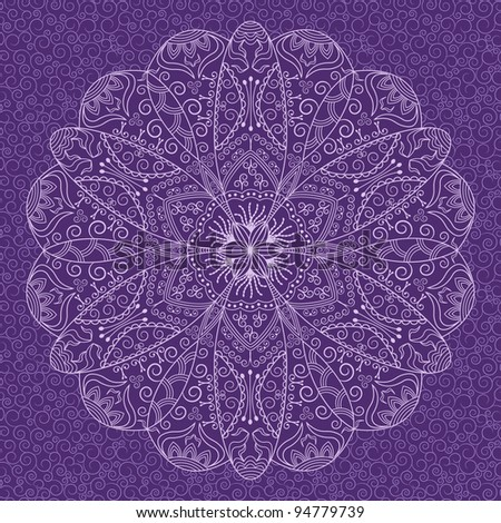 Decorative round lace pattern on background with swirls