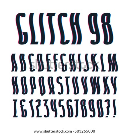 Decorative sanserif font with glitch wavy effect