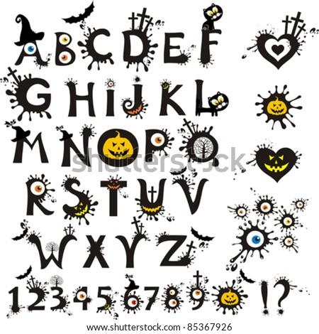 decorative scary style alphabet