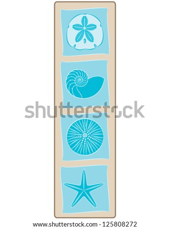 Decorative Sea Shell Tiles on bordered Background