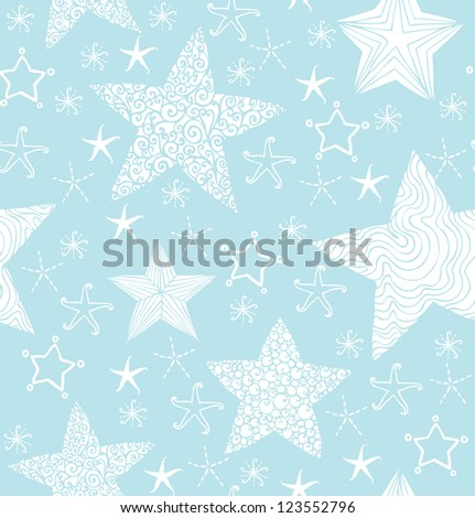 Decorative seamless blue pattern with fantasy stars. Template for design and decoration
