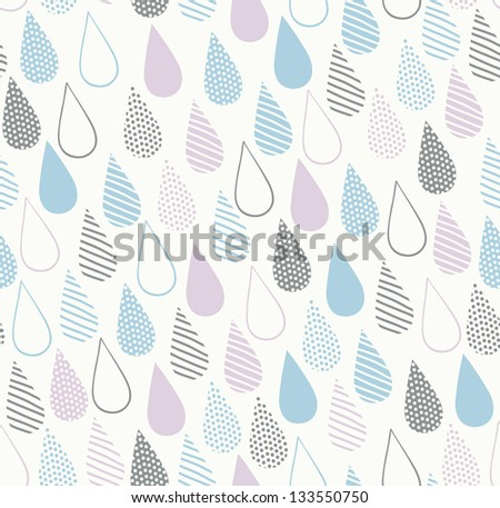 Decorative seamless ornamental texture with drops. Endless delicate abstract pattern. Template for design textile, backgrounds, wrappers, covers, package