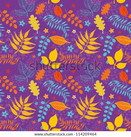 Decorative seamless pattern of colorful autumn leaves
