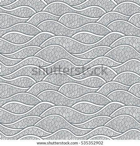 Decorative seamless pattern. Vector illustration with abstract waves or hills. Stylized ornament with sea, ocean.