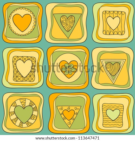 Decorative seamless pattern with heart in square. Vector illustration