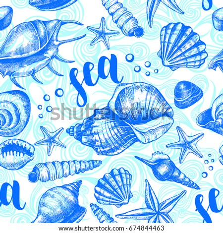 Decorative seamless pattern with ink hand-drawn various types mollusk sea shells, starfishes, pebbles. Marine elements texture with brush calligraphy style lettering. Vector illustration.