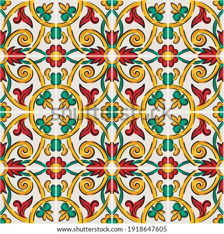 Decorative seamless pattern with sicilian ornament. Colorful ceramic tiles in floral traditional style of Palermo. Vector endless texture for digital paper, fabric, backdrop or wrapping Foto stock ©