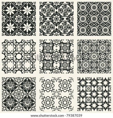 decorative seamless patterns, abstract floral design elements