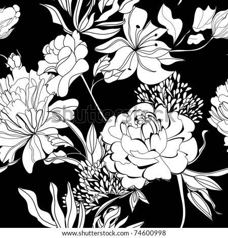 Decorative seamless wallpaper with white flowers on black background