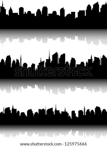 decorative set of black business city skyline and reflection