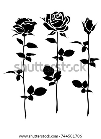 Decorative set of rose with long stem. Vector flower silhouette