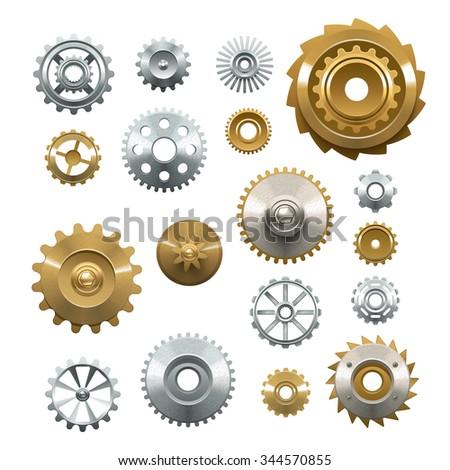 decorative set of shiny metal