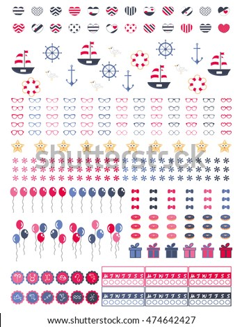 Decorative sheet for planners,agendas,bullet journals etc.For projects.Astrology stickers and icons.Nautical colors,summer vibe printable graphics,Vector clipart.Clipart
