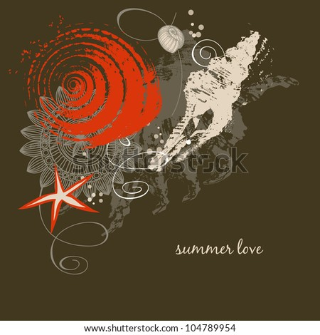 Decorative shells vector background