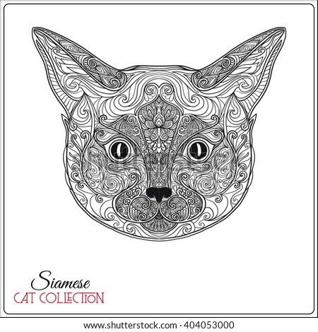 Decorative Siamese Cat Vector Illustration This Can Be Used As A Greeting Card