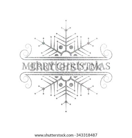 Decorative silver textured Christmas design element. Typographic vintage Christmas label, frame, border, badge, logo. Vector illustration for Christmas banner, invitation, postcard, card, vignette.