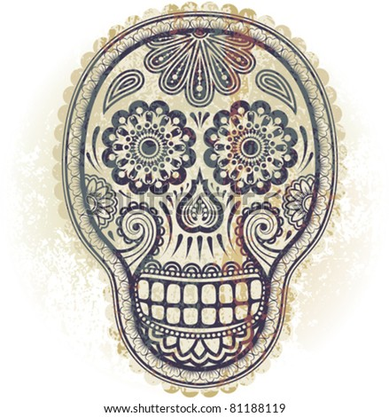 Decorative skull  in traditional Mexican style