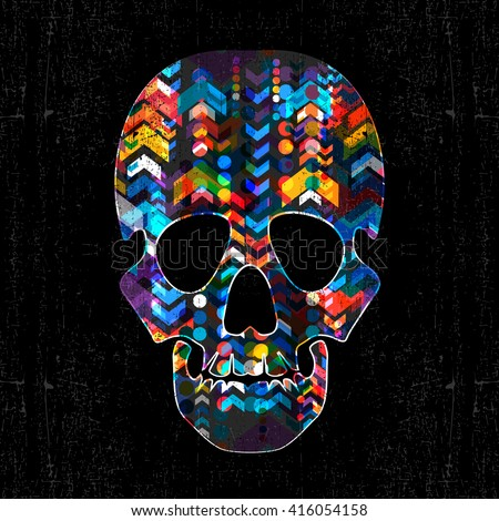 decorative skull with abstract