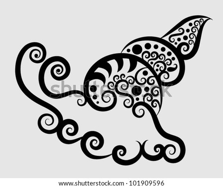 Decorative snail. curl ornament decoration, for textile or tattoo design