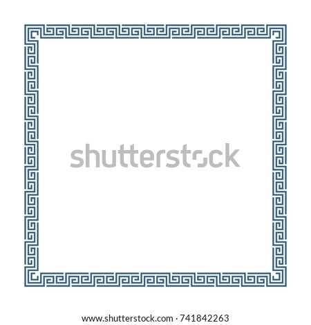 Decorative square frame in Greek style for photo or text. Abstract geometric ornament, isolated on white background. Vintage framework border. Vector illustration. EPS 10.
