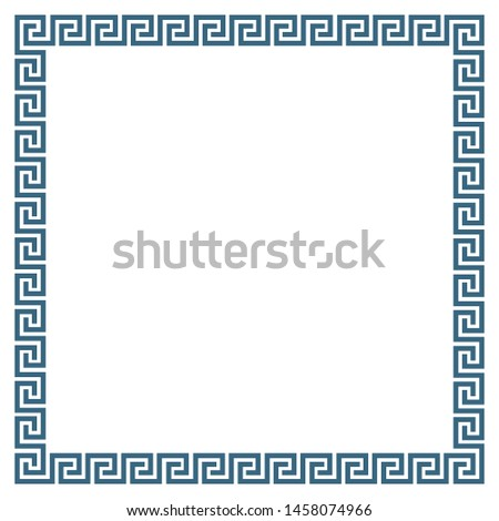 Decorative square frame in Greek style. Meandros, abstract geometric ornament, isolated on white background. Vector illustration