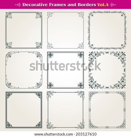 Decorative square frames and borders vector set 4