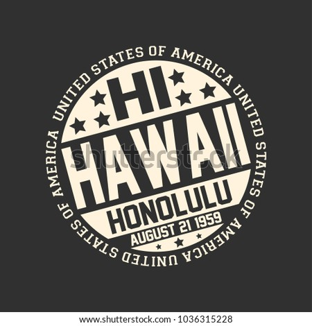 Shutterstock Decorative stamp on black background with postal abbreviation HI, state name Hawaii, capital Honolulu and date become a state August 21, 1959 with text United State of America around it.