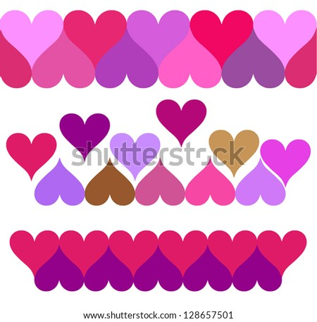 decorative strips of hearts