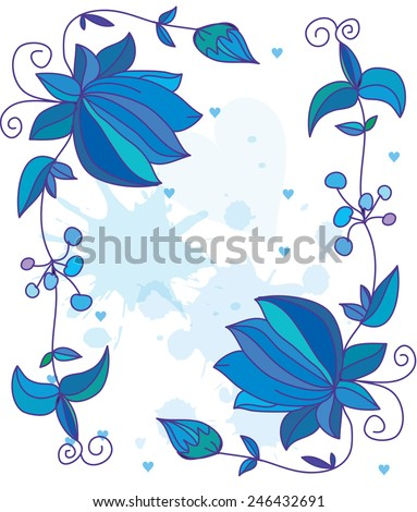 decorative stylized blue flowers hand-drawn text with hearts and swirls