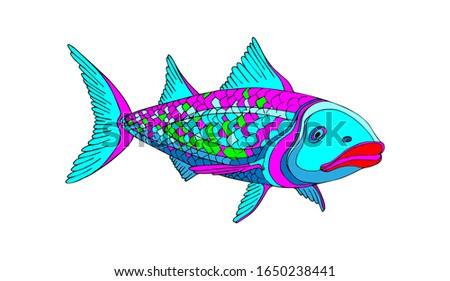 decorative stylized bright fish