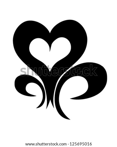 Decorative stylized heart tattoo. vector