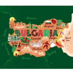 Decorative stylized map of Bulgaria with sights and symbols drawn in a flat style on a green background. Concept banner for travel, tourist guide, comic infographic poster. Cartoon vector illustration