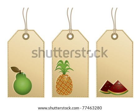 decorative tags with fruit motifs isolated on white
