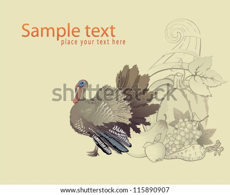 Decorative Thanksgiving background with turkey and cornucopia