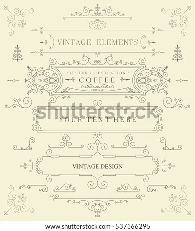 Decorative thin retro elements, Victorian frame, divider, border, vintage vector illustration
