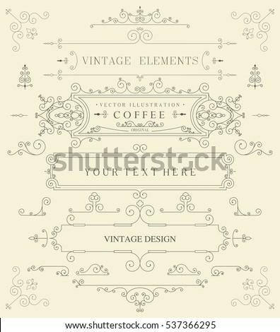 Decorative thin retro elements, Victorian frame, divider, border, vintage vector illustration