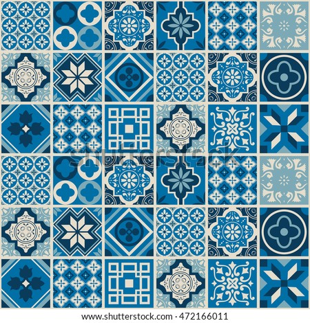 Indigo Floral Patchwork Tile Design Moroccan Or Mediterranean Classy Decorative Tile Designs