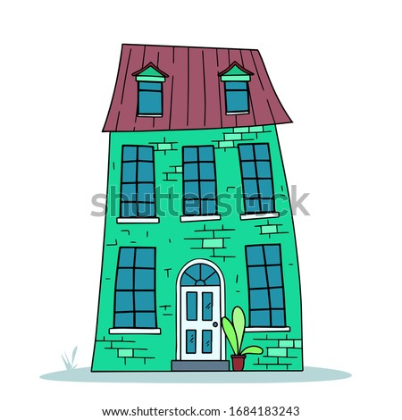decorative two story house in