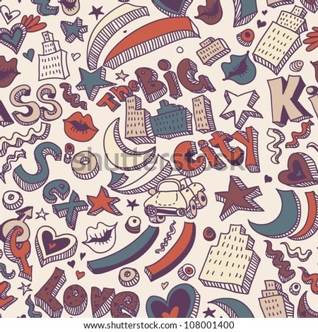 Decorative urban background Romantic seamless pattern