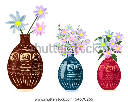 decorative vase with flowers - stock vector