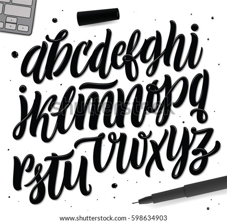 Decorative Vector ABC Letters. Nice Typography for Your Design. Vector Typography Lettering. Lettering and Typography for: Logo, Poster, Card, etc. Creative Workspace, set of Objects for Designers.