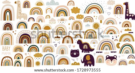 Decorative vector abstract art collection with modern rainbows, funny animals baby and clouds. Hand-drawn modern illustration. Baby trendy decorative collection