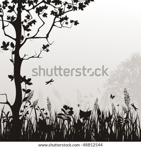 Decorative vector background with nature drawing
