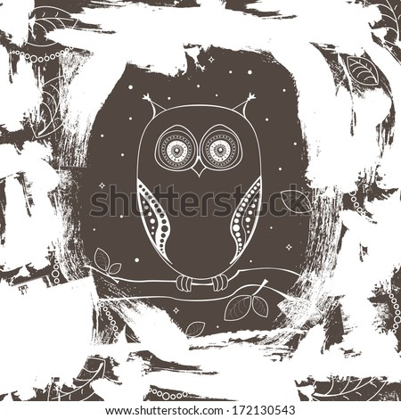 Decorative vector black and white owl on a tree branch