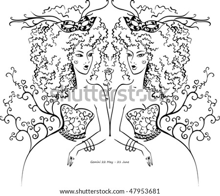 Gemini Horoscope Drawings Decorative Vector Drawing